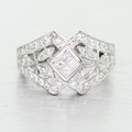 Spectacular Ladies Vintage 14K White Gold Princess Diamond Flower Antique Ring
