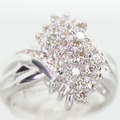 Glamorous Vintage Ladies 14K Two Tone Round Diamond Cluster Cocktail Ring