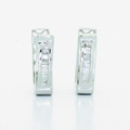 Spectacular Ladies 10K White Gold Baguette Diamond Huggie Style Hoop Earrings