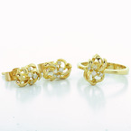 Beautiful Matching Diamond Earring Ring Set 14K Yellow Gold