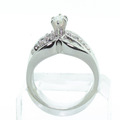 Vintage Estate 14K White Gold Marquise Round Baguette Diamond Engagement Ring