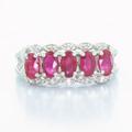 Stunning Ladies Vintage 14K White Gold  Ruby Round Diamond Fashion Ring