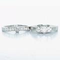 Stunning Ladies 14K White Gold Round Diamond Endangerment Ring Wedding Band Set
