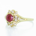 Dazzling Ladies Vintage Estate 14K Yellow Gold Ruby Diamond Cocktail Ring