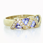 Womens Vintage 14K Yellow Gold Diamond Purple Gemstone Anniversary Ring Band