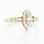 Stunning Vintage Ladies 14K Yellow Gold Round Diamond Cluster Ring