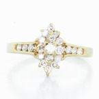 Vintage Womens 14K Yellow Gold Diamond Cluster Right Hand Ring