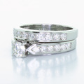 Spectacular Ladies 14K White Gold Round Diamond Engagement Wedding Band Ring Set