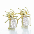 Stunning Ladies 14K Yellow Gold Pair Spider Earring With French Clip Backing