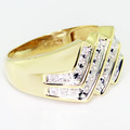 Handsome Vintage Estate Men's 10K Yellow Gold Round Diamond Ring