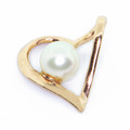 Elegant Vintage Estate Ladies 14k Rose Gold Heart White Pearl Pendant