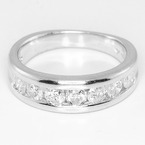 Spectacular Ladies Platinum Round Diamond Anniversary Band Ring