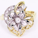 Dazzling Ladies 14K Two Tone Gold Round Diamond Plumeria Flower Ring