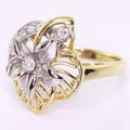 NEW Modern Womens 14K Two Tone Gold Diamond Plumeria Flower Cocktail Ring