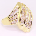 Stunning Ladies Vintage Estate 10K Yellow Gold Diamond Cluster Right Hand Ring