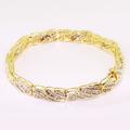 Stunning Ladies Vintage 14K Yellow Gold Round Baguette Diamond Tennis Bracelet