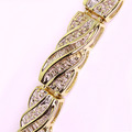 Stunning Ladies Vintage 14K Yellow Gold Round Baguette Diamond Tennis Bracelet