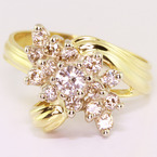 Dazzling Vintage Ladies 14K Yellow Gold Round Diamond Cluster Ring