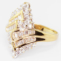 Dazzling Vintage Estate 14K Yellow Gold Round Baguette Diamond Cluster Ring