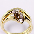 Dazzling Ladies Vintage 14K Yellow Gold Diamond Engagement Wedding Ring Set