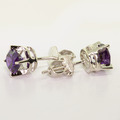 Dazzling Ladies 18K White Gold Round Amethyst Stud Earring Pair