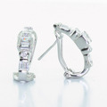 Unique 14K Yellow White Gold Zirconia Earrings French Clip