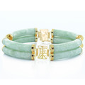 Gorgeous Ladies 14K Yellow Gold Tubular Double Row Jade Bracelet