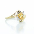Dazzling Ladies Vintage 10K Yellow Gold Citrine Diamond Right Hand Ring Ring