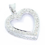 Stunning 14K White Gold Round Diamond Heart Shape Pendant Jewelry