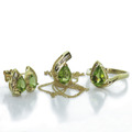 Dazzling Ladies 10K Yellow Gold Peridot Diamond Ring Earring Pendant Jewelry Set