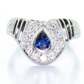 Spectacular Antique Style Ladies 14K White Gold Sapphire Diamond Fashion Ring