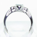 Elegant Ladies Vintage 14K White Gold Sapphire Round Diamond Engagement Ring