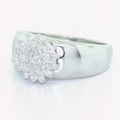 Stunning Ladies Vintage 14K White Gold round Diamond Cluster Right Hand Ring