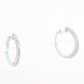 Spectacular Ladies 14K White Gold Round Diamond Hoop Earring Pair