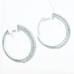 Spectacular Ladies 14K White Gold Round Diamond Hoop Earring Pair