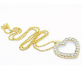 Spectacular 10K Gold Two Tone Ladies Diamond Heart Pendant Necklace