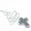 Dazzling Ladies 14K White Gold Sapphire Drop Cross Pendant Jewelry