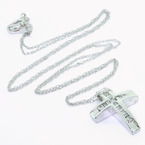Spectacular Ladies 10K White Gold Round Baguette Diamond Cross Pendant Necklace