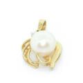 Elegant Ladies 14K Yellow Gold White Pearl Diamond Tulip Style Pendant