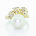 Elegant Ladies 14K Yellow Gold Pearl Diamond Ring Pendant Earring Jewelry Set