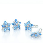 Fancy Modern 14K White Gold Diamond & Aquamarine Ladies Ring Earring Pendant Set