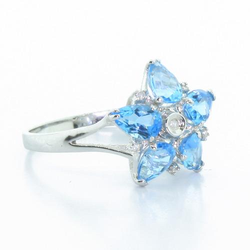 Fancy Modern 14K White Gold Diamond & Aquamarine Ladies Ring Earring Pendant Set