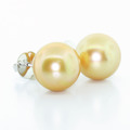 Beautiful Ladies 14K White Gold Round Gold Pearl Stud Earring Pair