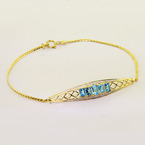 Elegant Ladies Vintage 14K Yellow Gold Aquamarine Round Diamond Bracelet