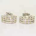 Beautiful Ladies 14K White Gold Round Diamond Cluster Ring Earring Jewelry Set