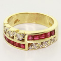 Dazzling Ladies Vintage 14K Yellow Gold Ruby Diamond Anniversary Band Ring