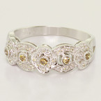 Stunning Ladies 14K White Gold Diamond Antique Style Ring Chocolate Diamond Ring
