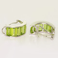 Dazzling Ladies 14K White Gold Baguette Peridot Ring Earrings Jewelry Set
