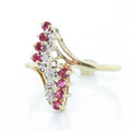 Vintage 10K Yellow Gold Round Ruby Diamond Estate Ladies Ring