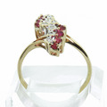 Vintage 10K Yellow Gold Round Ruby Diamond Estate Ladies Ring